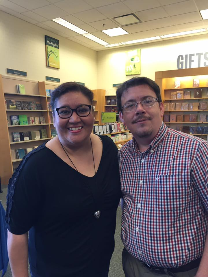 Here I am after the McAllen B&N event, posing with McAllen Poet Laureate Priscilla Celina Suárez
